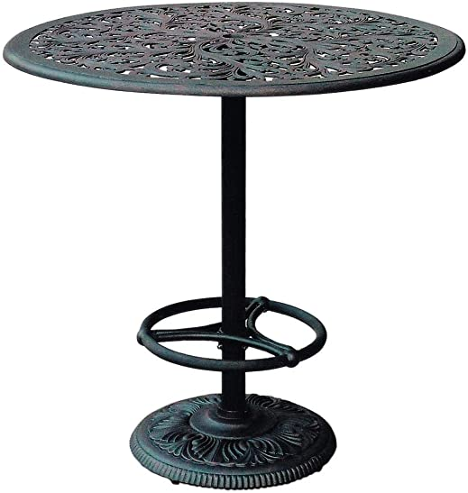 Darlee Series 80 42 Inch Cast Aluminum Pedestal Patio Bar Table