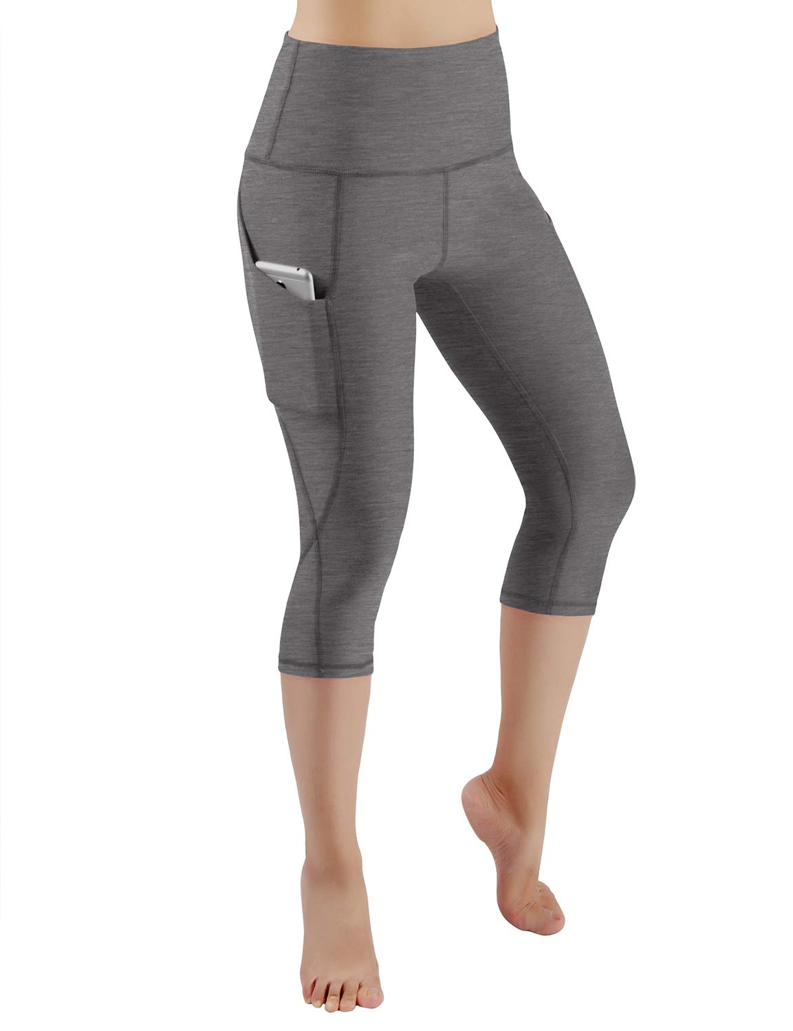 ODODOS High Waist Out Pocket Yoga Capris Pants Tummy Control Workout Running 4 Way Stretch Yoga Leggings,Gray,X-Small by ODODOS (Image #2)