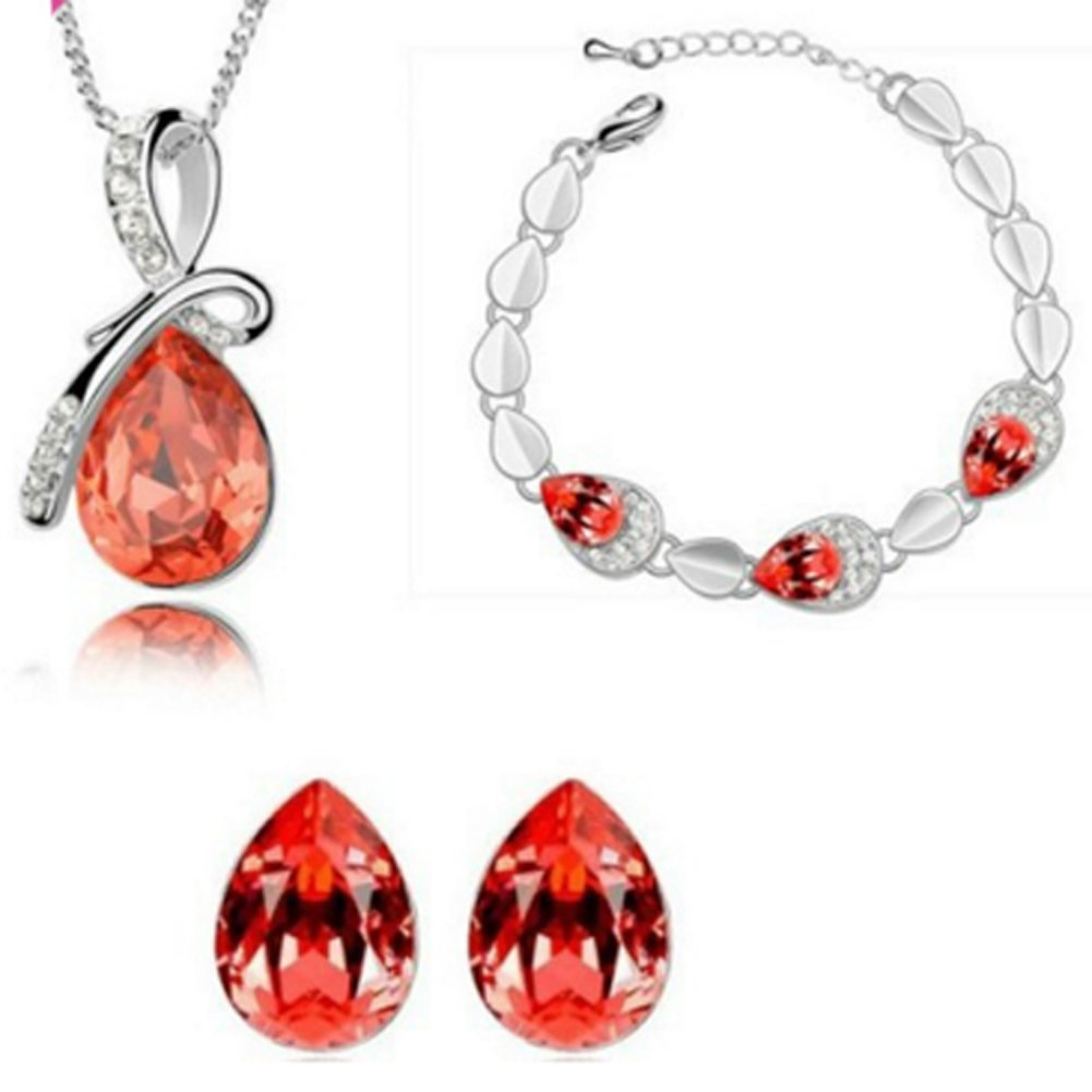 Richy-Glory 18K Gold Plated Austrian Crystal Drop Jewelry Sets
