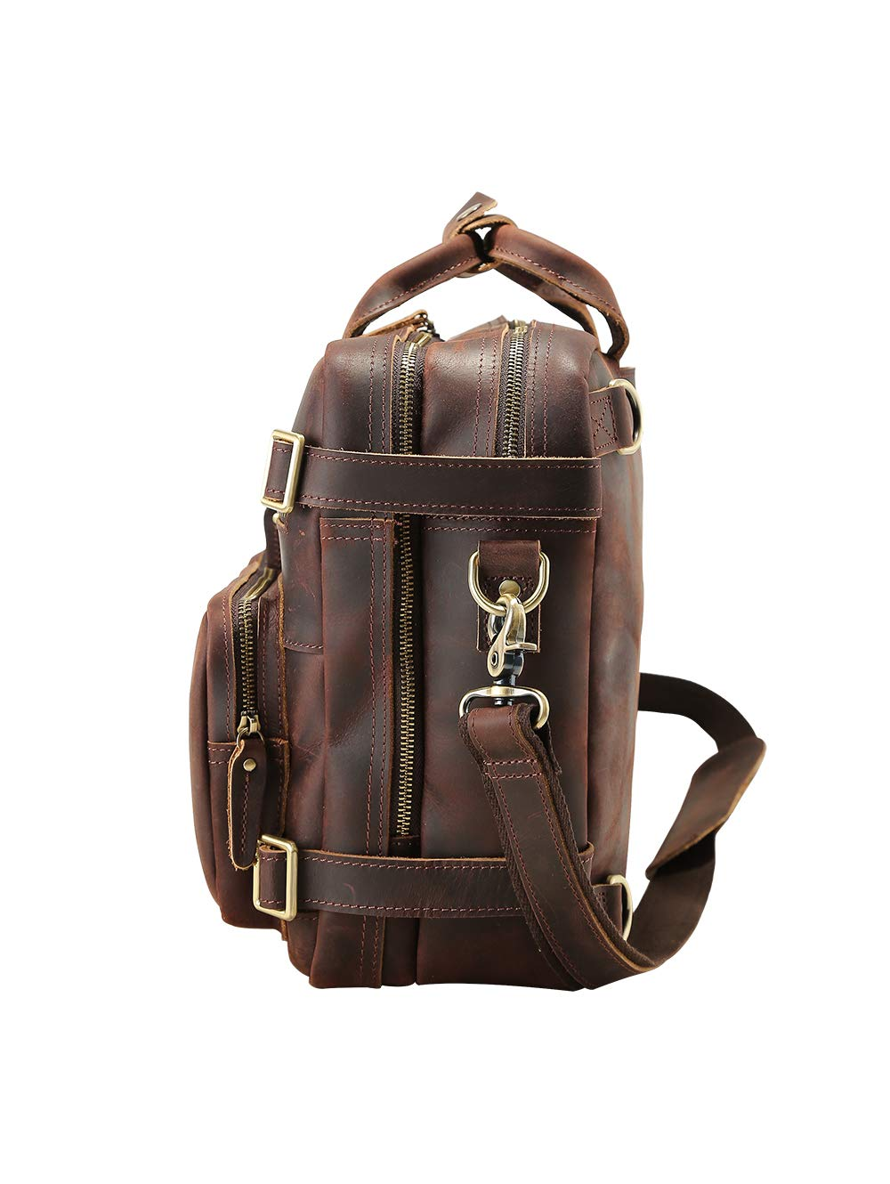The First Layer of High-Grade Leather Handmade Retro Trend Brown TIDING-3567 Mens Fashion Travel Backpack Computer Outdoor Bag Portable and Shoulder Two Ways to Use