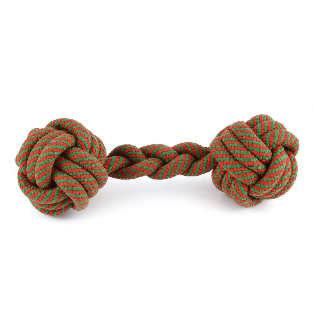 Pet Puppy Dog Teeth Cleanning Chew Knotted Braided Rope Ball Green Red