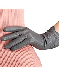 Nappa Leather Gloves Warm Handmade Curve Lambskin for Women
