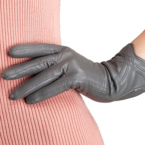 Nappaglo Nappa Leather Gloves Warm Lining Winter Handmade Curve Imported Leather Lambskin Gloves for Women (XL, Light Grey)