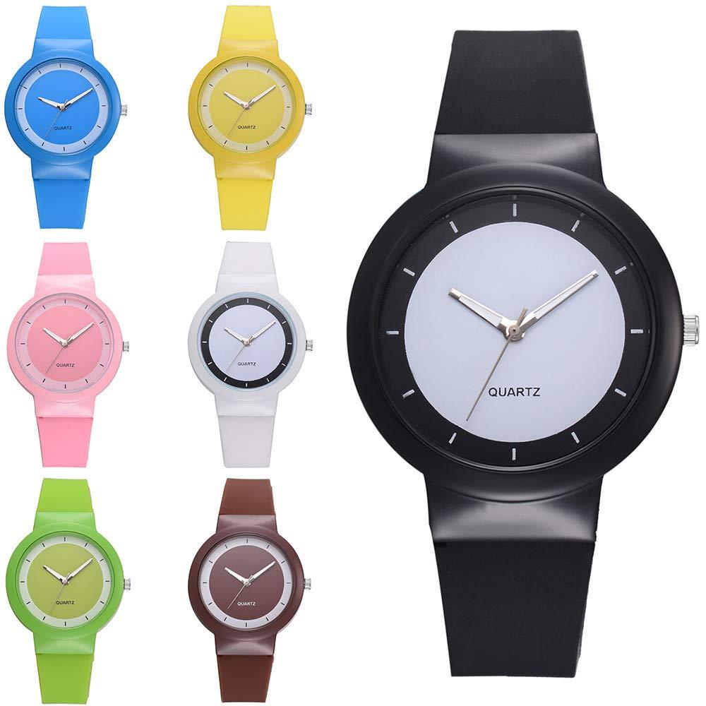 JiaMeng Mujer Reloj de Casual, Relojes de Pulsera de Las señoras de Las señoras de Lujo Casuales del Cuarzo de la Correa de Silicona de la Manera(Amarillo): ...