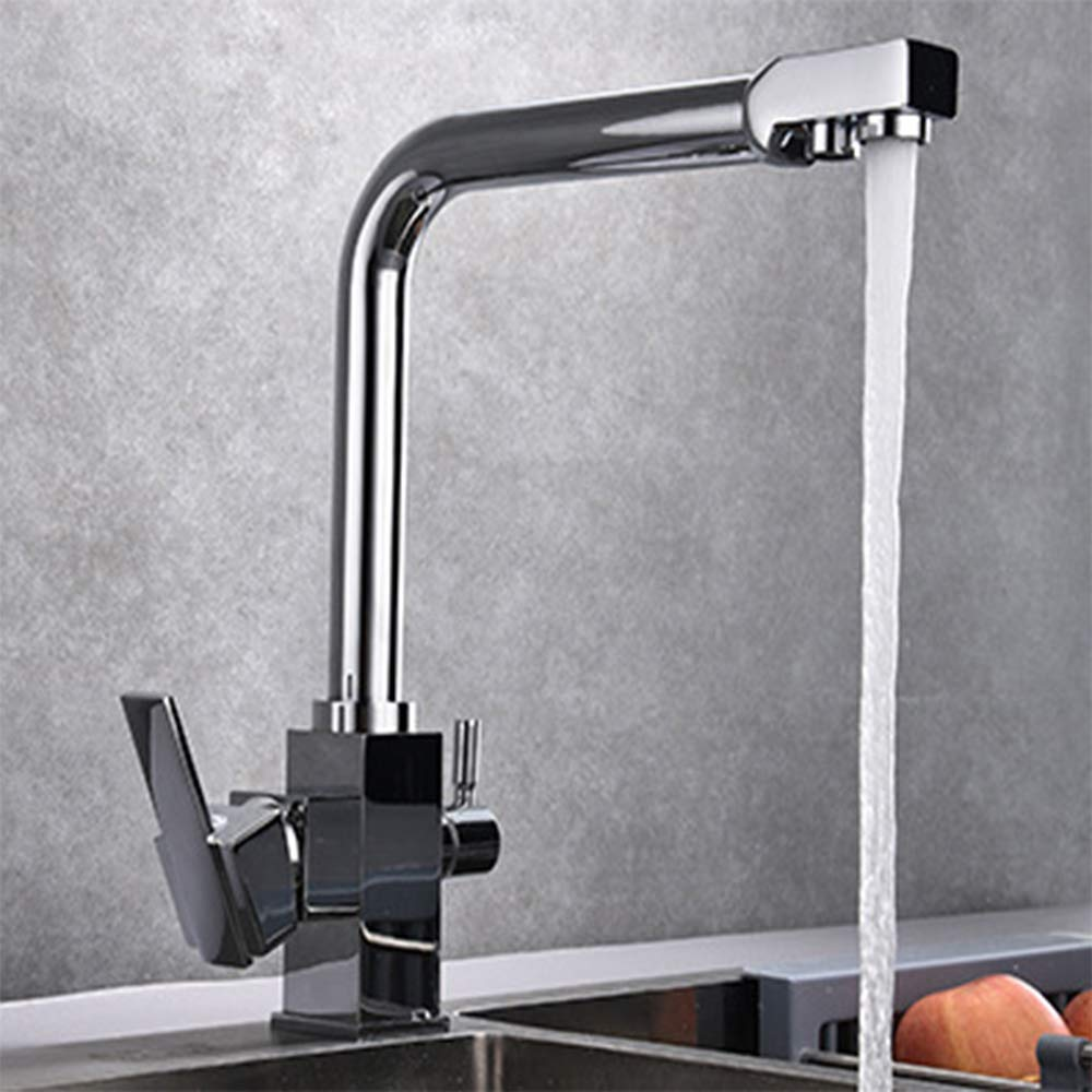 Pull Out Pull Down Kitchen Bathroom 3 Way Sink Faucet Pure Water Filter Two Handles Mixer Tap (type3)