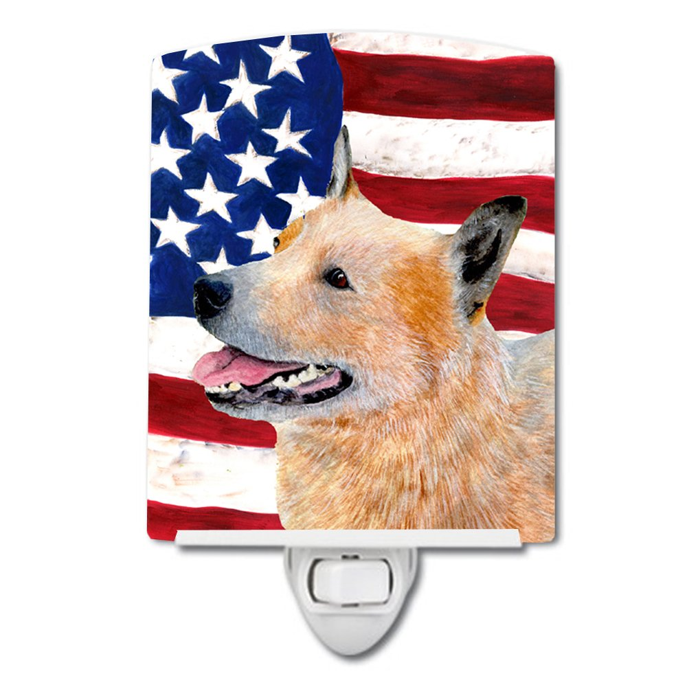 Caroline's Treasures American Flag Australian Cattle Dog Night Light, 6'' x 4'', Multicolor