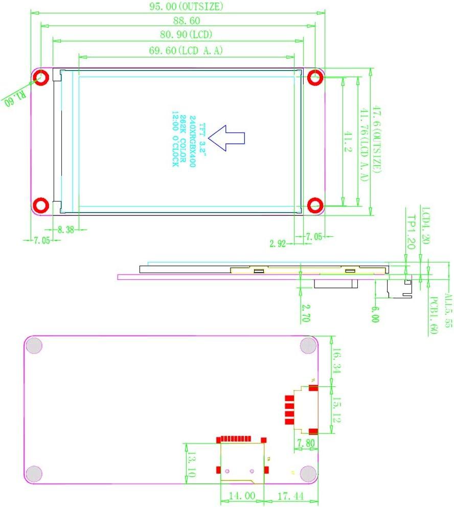Nextion Enhanced 3.2 inch NX4024K032 HMI TFT UART LCD Display Module Resistive Touch Screen 400x240 for Arduino Raspberry Pi ESP8266