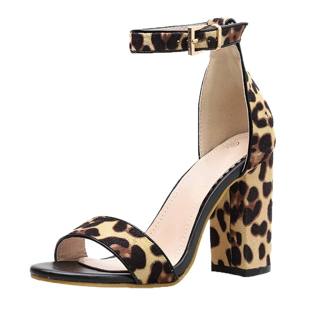 Orangeskycn Women High Heel Zebra Striped Sandals Leopard Print Peep Toe Sandals Buckle Strap Fashion Square Heel Shoes Brown