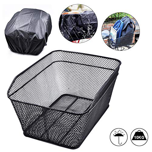 ANZOME Bike Basket, Rear Basket Reflective Waterproof Rain Cover Set Rear Bicycle Basket Carrier Back Cycling Basket Storage
