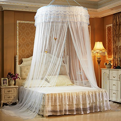 TYMX Princess Bed Canopy Mosquito Net Luxury Dome Luminous Butterfly Bed Tents Diameter 1.2M Adult Baby Kids Indoor Bedroom Anti-Mosquito Nets Fit Crib Twin Bed Large Bed (White) ()