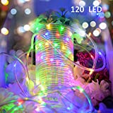 Image of Vmanoo Rope Lights 120 LED Battery Operated String Fairy Christmas Lighting Decor Timer For Outdoor, Indoor, Garden, Patio, Lawn, Holiday, Bedroom Wedding Decorations (Multi Color)