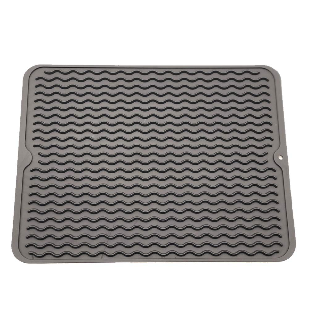 ZLR Silicone Dish Drying Mat Easy Clean Dishwasher Safe Heat Resistant Eco-Friendly Trivet Grey Large 15.8'' X 12'' by ZLR