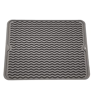 """ZLR Silicone Dish Drying Mat Easy Clean Dishwasher Safe Heat Resistant Eco-Friendly Trivet Grey Large 15.8"""" X 12"""""""