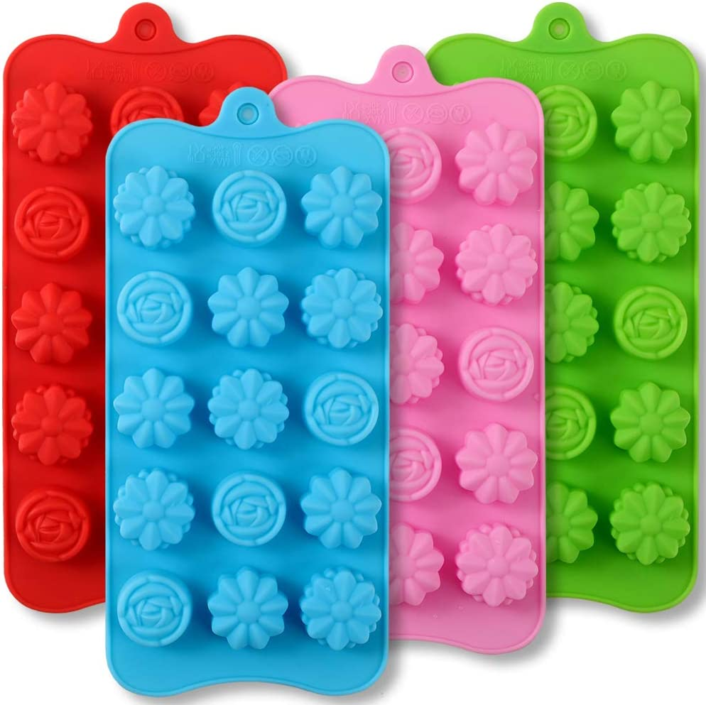 Newk 15 Cavity Silicone Flower Mold, 4 Packs Nonstick Food Grade Silicone Mold DIY for Chocolates, Candies, Ice Cubes, Jellos, Handmade Soap, and Bath Bombs