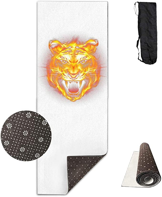 Amazon Com Workout Mat For Yoga Hd Tiger Fierce Flames White