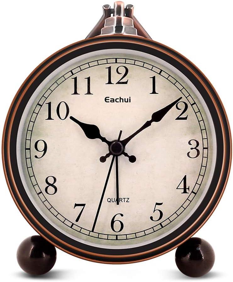 Eachui Despertador Analógico de Cuarzo Nostalgia con Alarma y Luz de Noche, Dial de 10,7cm, Reloj de Mesa con Función Posponer, Potente, Alarma Progresiva, Sin Tintineo, Silencioso, a Pilas