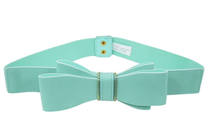 Vintage Wide Belts, Cinch Belts Retro Mod Pinup Lady Mint Lolita Kawaii Double Bow Elastic Stretch Waist Belt $15.00 AT vintagedancer.com