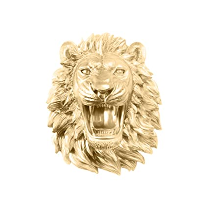 Amazon.com: Wall Charmers Roaring Lion in Gold - Faux Fierce Roaring ...