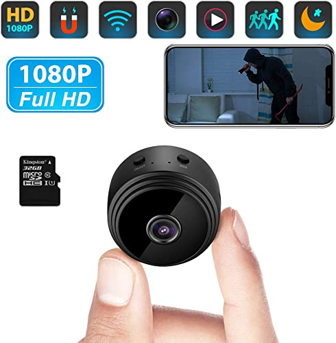 Mini Spy Camera WiFi 32G SD Card FHD 1080P Small Wireless Hidden Cameras with App Audio Video Night Vision Motion Detection for Home Indoor Car Security Nanny Surveillance Cam for iPhone Android