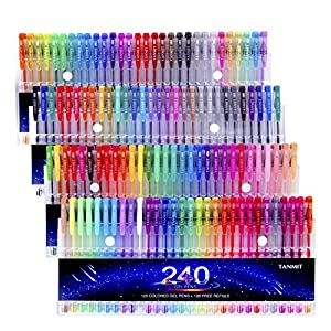Tanmit 240 Gel Pens Set 120 Colored Gel Pen plus 120 Refills for Adults Coloring Books Drawing Art Markers (No Duplicates)