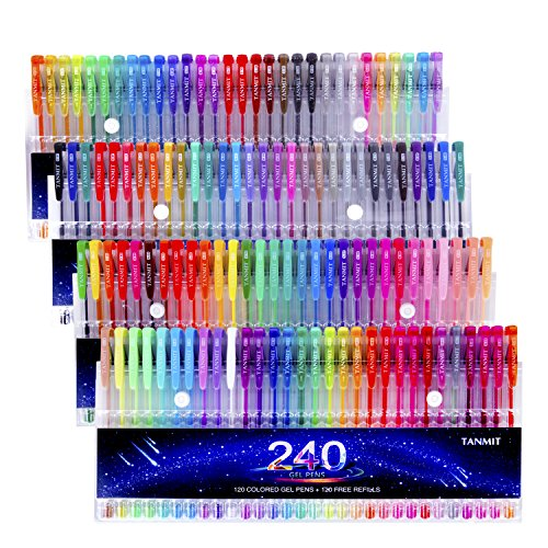 Set 120 Colored Gel Pen plus 120 Refills for Adults Coloring Books Drawing Art Markers (No Duplicates) ()