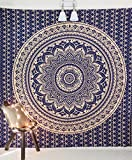 Size Difference Between King and California King Mattress Folkulture Mandala Tapestry Hippie Wall Hanging, Indian Ombre Bohemian Mandala Bedding Bedspread Set for Bedroom, College Dorm Room Wall Art Decor or Home Blanket, Blue Gold Queen Size Boho Coverlet