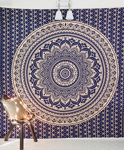 Folkulture Mandala Tapestry Hippie Wall Hanging, Indian Ombre Bohemian Mandala Bedding Bedspread Set for Bedroom, College Dorm Room Wall Art Decor or Home Blanket, Blue Gold Queen Size Boho Coverlet