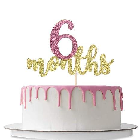 Amazon.com: Decoración para tarta de 6 meses, feliz ...