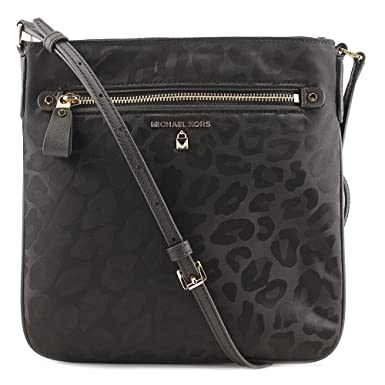 382c7c83080d32 Image Unavailable. Image not available for. Color: Michael Kors Kelsey  Animal Print Nylon Large Crossbody Handbag in Black