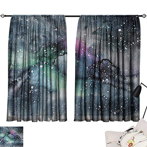 Davishouse Psychedelic Simple Curtain Space Galaxy Inspired Hazy Grunge Modern Celestial Cosmic Fantasy Design Print Privacy Protection (Screen Fireplace Celestial)