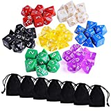 Austor 7 x 7 (49 Pieces) Polyhedral Dice 7 Colors Dungeons and Dragons DND MTG RPG D20 D12 D10 D8 D6 D4 Game Dice Sets with Free Pouches
