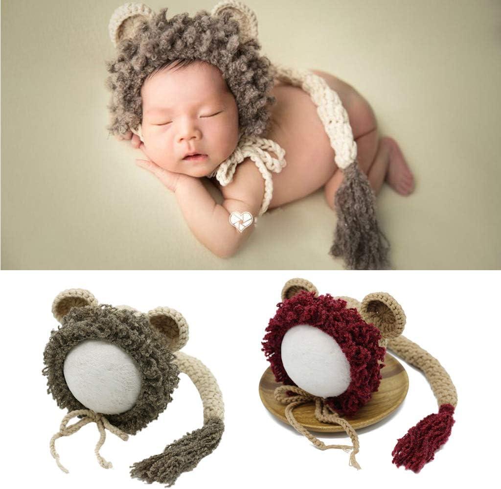 suoryisrty Puntelli per Fotografia per Neonato Cappello per Neonato Maglieria allUncinetto Piccoli Outfit Grigio