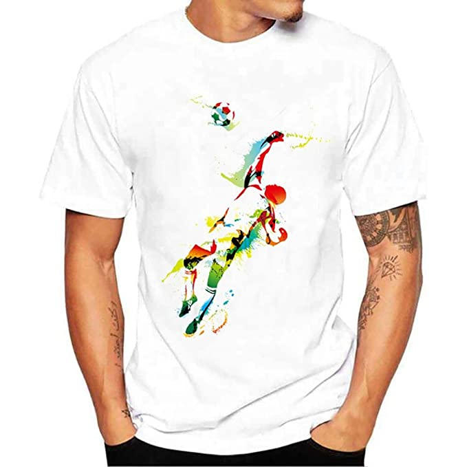 Rawdah Camiseta de fútbol de Manga Corta con Estampado de fútbol de Chico Chico más Camisetas