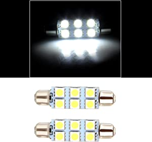 cciyu 2x White 44mm Festoon 6-5050-SMD Chips LED Light Bulbs Replacement fit for Interior Dome Door Map License Plate Cargo Light