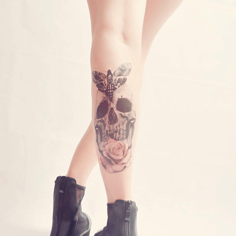 COKOHAPPY Grande Temporales Tatuaje Cráneo Calavera Mariposa ...