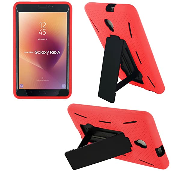 Shockproof Heavy Duty Dual Protection Hybrid Case Cover by KIQ for Samsung  Galaxy Tab A 8 0 2017 A2 A2S [ SM-T380 ] [ SM-T385] (Black/Red)