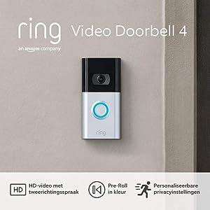 De nieuwe Ring Video Doorbell 4 van Amazon - HD-video met tweerichtingsspraak, previews via Pre-Roll in kleur, batterijvoeding | 30 dagen gratis Ring Protect inbegrepen