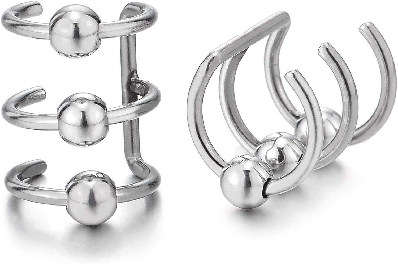 2 Piezas Plata Color Clip de Oreja, Clip-on Pendientes del Aro con Bola, para Hombres Mujer, Acero Inoxidable