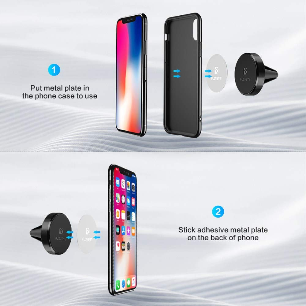 YXF33492/_1 Magnetic Car Mount Air Vent Magnet Holder Cradle Compatible for iPhone Xs,Xs Max,XR,X,8,8 Plus,7,6 Plus,Samsung Note,Galaxy S9,S8,S7,Huawei,etc Black FLOVEME Magnetic Phone Holder for Car