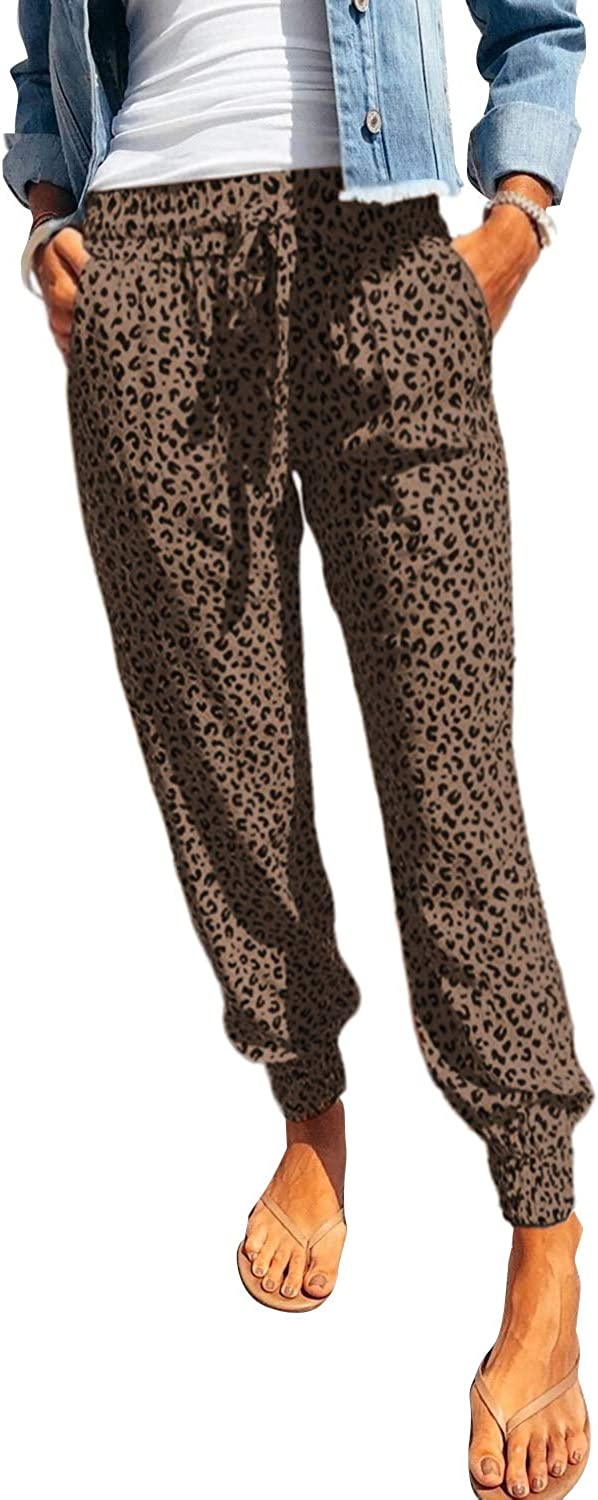 onlypuff Drawstring Jogger Sportwear Pants for Women Workout Sweatpants Brown Leopard L