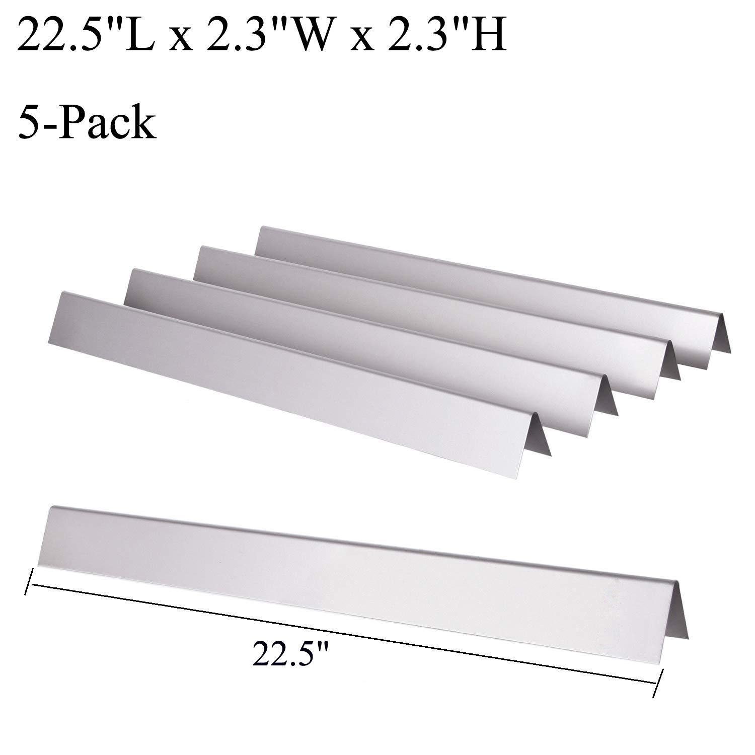 GasSaf 22.5 inch Flavorizer Bar Replacement for Weber 7536, 7537, Spirit(3 Burners) E-310/E-320, Spirit 700, Genesis Silver B/C, Gold B/C, Platinum B/C, Weber 900, 5-Pack Stainless Steel Flavor Bar