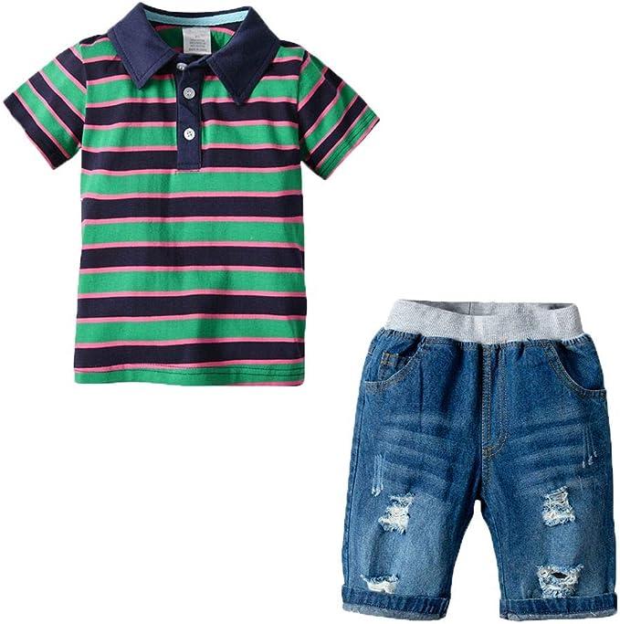 Echinodon Jungen Sport-Set T Shirt Shorts Atmungsaktiv Sommer Bekleidungsset Kinder Trainingsanzug
