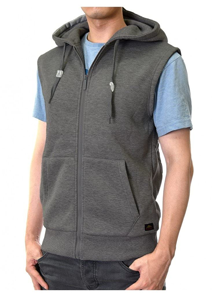 Mens Full Zip Hoodie Vest with Fleece Lining and Front Pockets