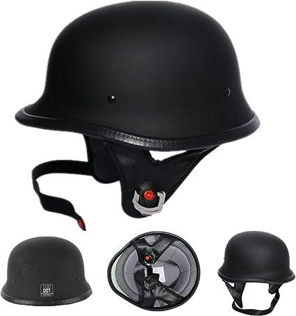 TCMT Dot Adult German Style Gloss Black Half Helmet Motorcycle Chopper Cruiser Biker Helmet M
