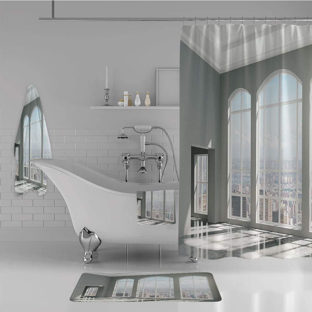 iPrint Bathroom 4 Piece Set Shower Curtain Floor mat Bath Towel 3D Print,City Scenery with Country Home View from Windows,Fashion Personality Customization adds Color to Your Bathroom.