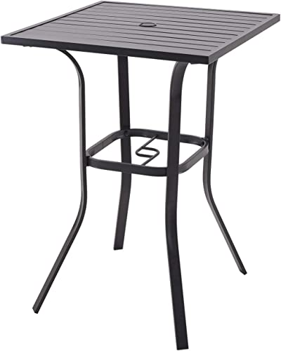 Patio Bar Table Outdoor Metal Bar Height Bistro Table with Umbrella Hole