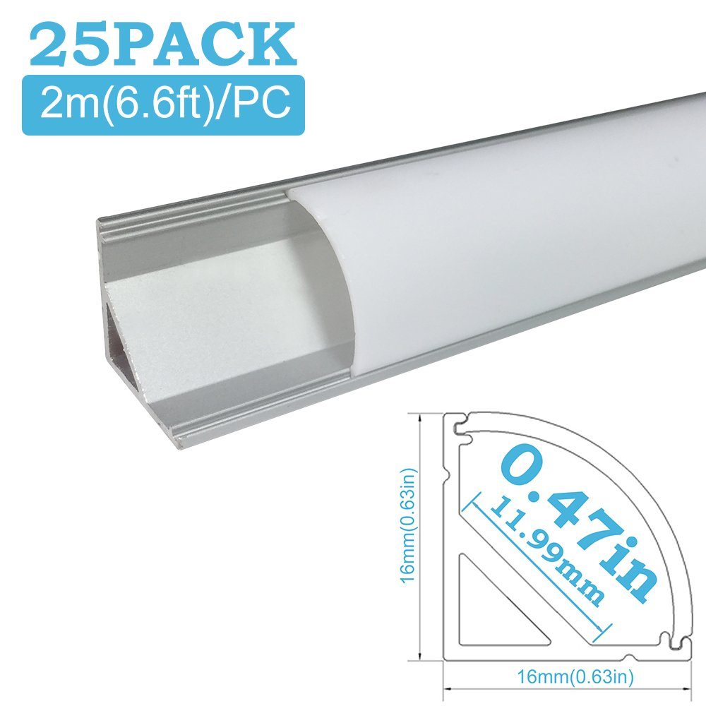 inShareplus 25Pack 6.6FT/2M LED Aluminum Channel System V Shape Track with Oyster White Cover, End Caps and Mounting Clips for 0.48in(12mm) 3528 5050 LED Strip Light Installation by inShareplus