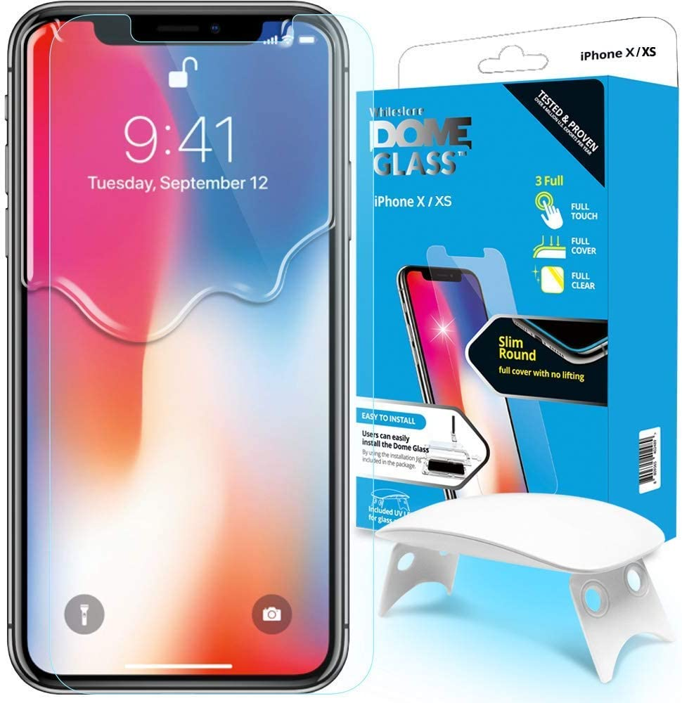 Dome Glass iPhone X Screen Protector Tempered Glass Shield, [Liquid Dispersion Tech] 2.5D Edge of Screen Coverage, Easy Install Kit and UV Light by Whitestone for Apple iPhone X (2017) / iPhone 10