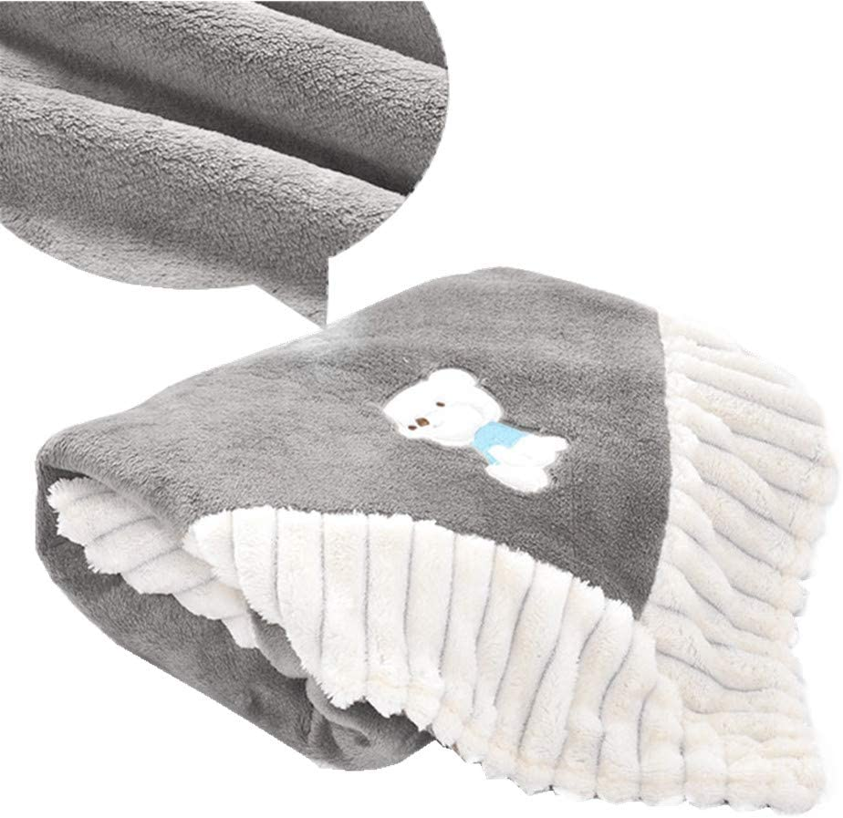 Manta polar para beb/é reci/én nacido cuna gris gris para asientos de coche cuna muy suave y mullida manta de peluche c/álida cochecitos camas envolvente