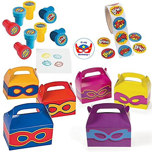 Multiple Superhero Party Favors - 24 Superhero Stampers, 24 Superhero Favor Boxes (12 Girls, 12 Boys), Superhero Stickers (100) and Superhero Birthday Sticker (149 Pieces)